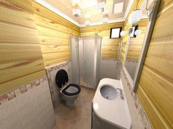 Kylpyhuone tyhjästä yksityisessä talossa  Lattian